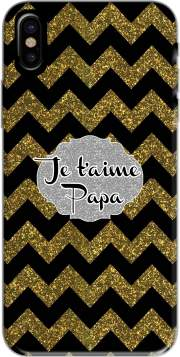 chevron gold and black - Je t'aime Papa Hoesje voor Iphone X / Iphone XS