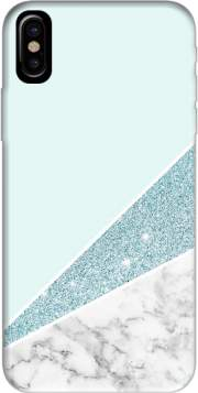 Initiale Marble and Glitter Blue Hoesje voor Iphone X / Iphone XS