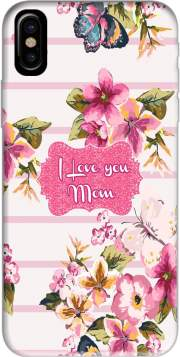Pink floral Marinière - Love You Mom Hoesje voor Iphone X / Iphone XS