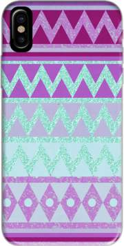 Tribal Chevron in pink and mint glitter Hoesje voor Iphone X / Iphone XS