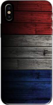 Wooden French Flag Hoesje voor Iphone X / Iphone XS