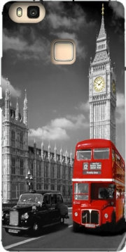 Red bus of London with Big Ben Hoesje voor Huawei P9 Lite